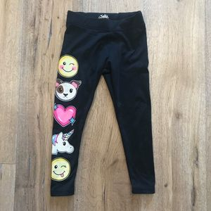 Justice Emoji Black Leggings Pants